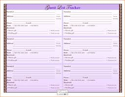 Printable Wedding Guest List Template 24 printable wedding guest list template Job Resumes Word 1