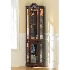 Living Room Corner Cabinets Tall Modern Brown Glass Wood Curion Display Corner Cabinet