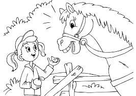 Kleurplaat Meisje Met Paard Muziekmoment Kleurplaat Regenboog Met