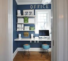 home office small gallery. Small Home Office Design Ideas View In Gallery With Sleek Shelves White And A Blue Backdrop