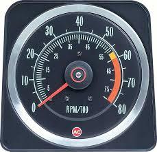 1969 camaro parts dash components gauges oe classic industries 1969 camaro z28 396 375hp 6 x 8 tach 6000 red line 8000 rpm maximum