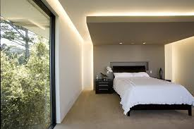 lighting for low ceilings Bedroom Contemporary with accent wall bedside  table. Image by: Mark English Architects AIA