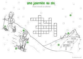Tellement mieux pour la classe quand ils sont personnalisés ! Une Journee Au Ski Mots Croises Enfant A Imprimer Et Colorier