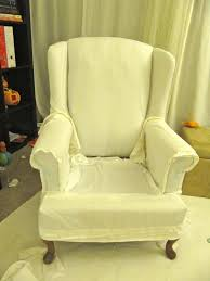 ideas of my wing chair slipcover reveal marvelous wingback sofa slipcover