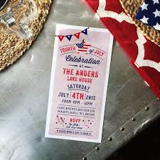 rustic 4th of july patriotic american celebration bbq party printable 4x8 invitation