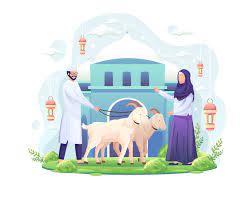 Das Paar feiert Eid al Adha, indem es zwei Ziegen für die  Vektorillustration von Qurban Eid al Adha Mubarak spendet 2493605 Vektor  Kunst bei Vecteezy