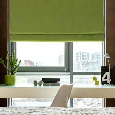 fabric window shade plain color washable linen blinds roman shades 2 kit