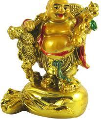 Odishabazaar Yellow Feng Shui Laughing Buddha Sit On Money Potli