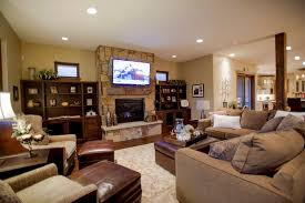 stone fireplace designs with tv above for elegant family room decor