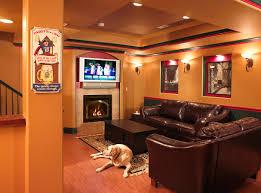 ... Awesome Basement Interior Design Ideas : Elegant Living Room In A  Basemenet With L Shape Dark ...