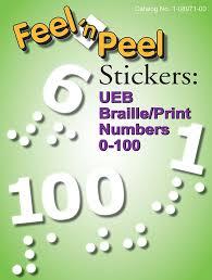 Braille Numbers Chart 1 100 Feel N Peel Stickers Ueb Braille Print Numbers 0 100