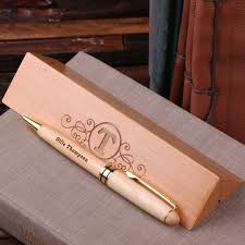 personalized wood desktop pen set engraved and monogrammed gifts