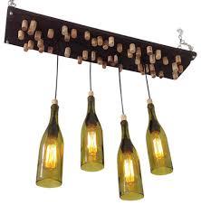 recycled wine bottle chandelier with 4 wine bottle pendants