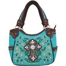 blancho bedding womens flower cross pu leather handbag fashion elegant tote bag turquoise