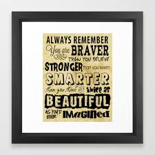 Personal Affirmation You Are Brave Strong Smart And Beautiful Positive Sayings Framed Art Print