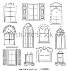 vintage window drawing. window set. different architectural style of windows doodle sketch stylish collection vintage drawing p