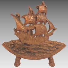 antique cast iron ship door stop columbus ship no makers mark