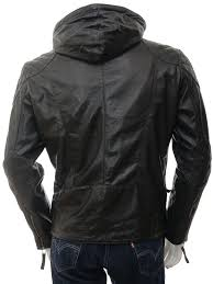 men s black hooded leather jacket aller back