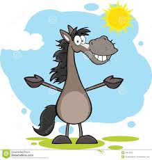 grey horse cartoon mascot character with open arms over landscape
