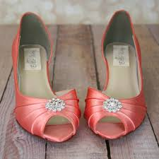 coral wedding shoes. Dress up your walk down the aisle with these lovely dorsay peep toe