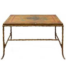 maison baguès bronze faux bamboo coffee table with antique chinese panel top for