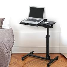 langria portable laptop stand desk cart with mouse board adjule height 360 swivel and 180 tilt lockable casters 60 x 34 5 x 60 90cm
