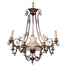 original gas chandelier converted to candle kerosene