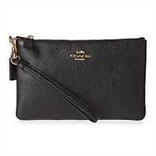 Coach Black Polished Pebble Small Wristlet