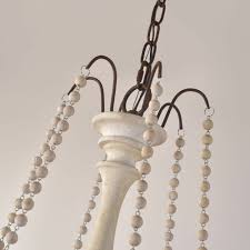 retro candle style chandelier wood bead