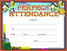 Free Printable Perfect Attendance Certificate Template Fascinating Printable Perfect Attendance Certificate Template Attendance