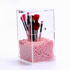 new arrival pearl box for cosmetic organizer makeup brush holder with cover clear acrylic jewelry storage