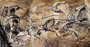 30 000 years old painting of female lions on a wall in the chauvet cave in southern