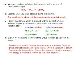 a write an equation including state symbols for the burning of strontium in
