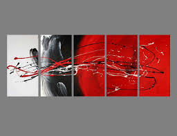 black and white canvas wall art beautiful 5 abstract canvas painting red black white modern wall