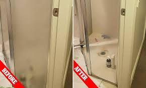 mother shares incredible before and after images of her s covered shower glass door daily mail