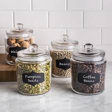 ksp chalkboard glass canister with lid set of 4 clear kitchen stuff plus
