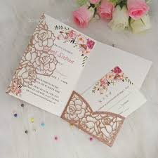 Weding Card Designs Pink Gold Glitter Flower Printed Laser Cut Pocket Wedding Invitations Template With Rsvp Card Shipped By Dhl Wedding Invitation Designs Free Wedding