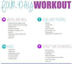 four day workout routine heath fitness work out routines gym workout workout schedule