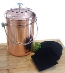 countertop compost compost pail bin bucket for indoor kitchen copper coated breeze odor free countertop compost collector