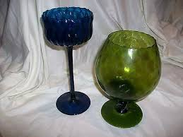 2 vintage retro blue green colored glass pedestal large goblet candle holders