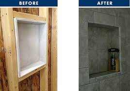 tile ez shampoo standard niche shown above is a spacious 15 inch high by 13 1 4 inch wide i d dimension tile ez soap standard niche shown below in