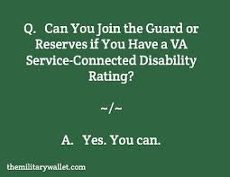 Can You Join Guard Reserves With A Va Disability Rating