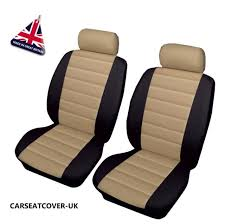 ssangyong rexton front pair of beige black leather look car seat covers