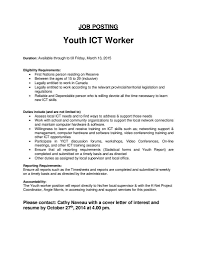 Job Description For Youth Worker Perfect Resume Format