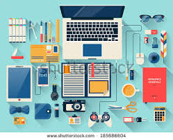 designer office desk isolated objects top view. flat design modern vector illustration concept of creative office workspace workplace top view designer desk isolated objects p