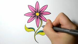 Small Picture How to Draw a Simple Flower Hot Pink Daisy YouTube