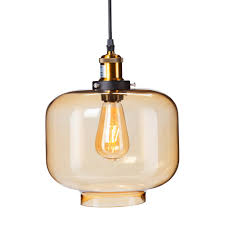 danielle 1 light amber colored glass pendant lamp