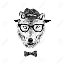 Drawn Wolf Dressed Up Hand Drawn Wolf Hipster Royalty Free Cliparts Vectors