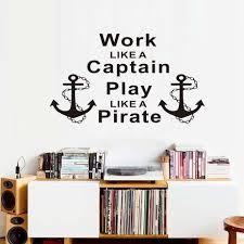 901 17 De Réductioncitations Inspirantes Travail Comme Un Capitaine Jouer Comme Un Pirate Ancres Stickers Muraux Décor à La Maison Salon