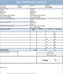 Printable Commercial Invoice Template For Dhl Commercial Invoice